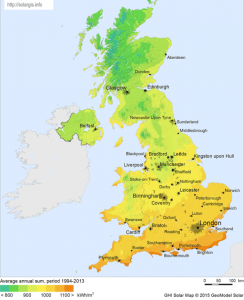 Map of annual UK solar radiation 244x300 - Map of annual UK solar radiation